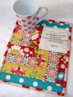 Psalm 274 scripture mini quilt quilted mug by myfivelittlepeppers