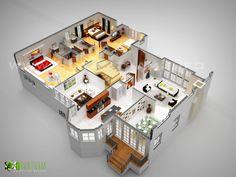 laxurious residential 3d floor plan paris