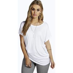Boohoo Plus Plus Sloane Basic Oversized Tee ($16) ❤ liked on Polyvore featuring tops, t-shirts, white, long sleeve crew neck tee, oversized baseball tee, white crew neck t shirt, white t shirt and long sleeve tee