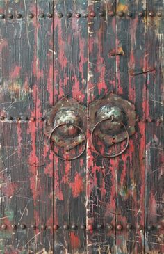 Antique Wooden Doors 1 Mixed Media Iron Hand Painted Dimensional Wall Décor
