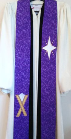 Clergy Stole  Purple Advent Clergy Stole w/ Star by PulpitStoles