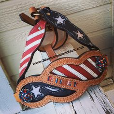 Magics Custom Tack Red white and blue Stars and Stripes American flag full leather bronc halter Magicscustomtack@hotmail.com