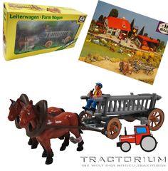 Bully Farm 11021 Pferdegespann mit Leiterwagen ca. 1/32