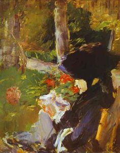 Mother in the Garden at Bellevue ~ by Édouard Manet ~ Édouard Manet was a French painter. He was one of the first artists to paint modern life, and a pivotal figure in the transition from Realism to Impressionism. Renoir, Julie Manet, Edouard Manet Paintings, Mother Art, Post Impressionism, Famous Artists, Figurative Art, Whistler, Paris