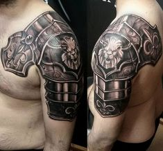 realistic tattoo designs for men armor on shoulder with lion and fleur de lis Armor Of God Tattoo, Armour Tattoo, Norse Tattoo, Viking Tattoos, Family Tattoos For Men, Tattoos For Women Small, Tattoos For Guys, Mens Tattoos, 3d Tattoos