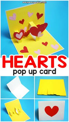 Heart Valentines Day Pop Up Card – easy Valentines day craft idea for kids. Make… Heart Valentines Day Pop Up Card – easy Valentines day craft idea for kids. Make this Valentines day card with kids as young as kindergarten. Pop Up Valentine Cards, Kinder Valentines, Valentines Day Hearts, Pop Up Cards, Valentines Diy, Valentine Heart, Valentine's Day Crafts For Kids, Valentine Crafts For Kids, Mothers Day Crafts
