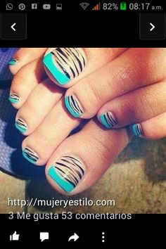 French Tip Toes, Trendy Nail Art, Fall Nail Art, Pretty Toes, Zebra Print, Nail Designs, Bloom, Luxury Fashion, Turquoise