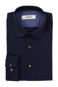 Long Sleeve Trim Fit Striped Dress Shirt
