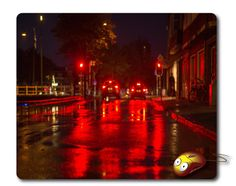 Red traffic light Mousepad Computer Mouse pad Dark Night City Mouse Mat Desk Mouse pad Office gift Computer pad Desk supplies desktop office