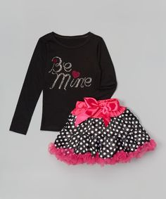 This Black 'Be Mine' Tee & Pink Polka Dot Pettiskirt - Toddler & Girls by So Girly & Twirly is perfect! #zulilyfinds