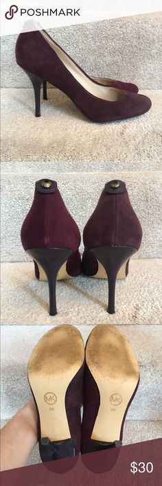 """MICHAEL Michael Kors Dark Purple Heels Beautiful heels! Worn but still have lots of love to give. Please note stains inside shoes as shown. 4"""" heels. MICHAEL Michael Kors Shoes Heels"""