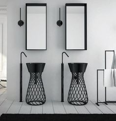 Freestanding wire basin Art Ceram - really love the mirrors, spouts & towel rack