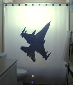 Fighter Jet F16 Shower Curtain Stealth Bomber Airplane f-16 Fighting Falcon Warplane Military Aircraft Plane. $75.00, via Etsy.