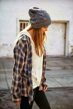 Cute plaided shirt with white hoodie, beanie and black leggings - relaxed but cute