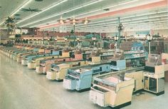 Supermarket pastels 1960 - Look at the size of those cash registers