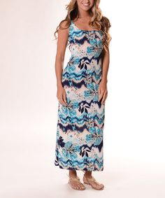Another great find on #zulily! Teal & Taupe Floral Wave Maxi Dress #zulilyfinds