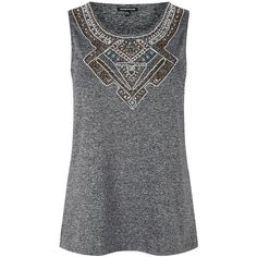 Warehouse Embellished Front Top, Light Grey ($30) ❤ liked on Polyvore featuring tops, sleeveless tops, sequin top, sequin sleeveless top, embellished sleeveless tops and beaded top