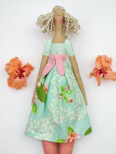 Tilda doll rag doll fabric doll stuffed doll blonde cloth doll coral mint handmade cute doll baby shower gift for girls by HappyDollsByLesya on Etsy