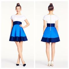 kate spade Fiorella colorblock dress  Heads will turn for this adorable kate spade colorblock! A crisp white top with a flared navy and royal blue skirt, this dress easily transitions from formal to casual with a switch of shoes! And did I mention, POCKETS?  Gently worn and LOVE this dress but selling because it's (unfortunately ) too tight around the waist for my liking. This blue color is sold out online! kate spade Dresses