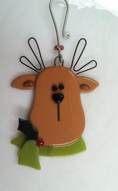 Vitrofusión renos ornamento renos Navidad ornamento reservados para LORI