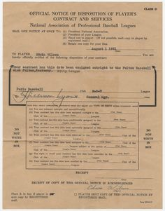 Player transaction involving Ed Wilson of Topeka, 1951. This form was used to transfer Wilson from the Paris, Illinois minor league team to the Fulton, Kentucky, minor league team. (SCBHOF/KHS; courtesy of Linda Hammond)