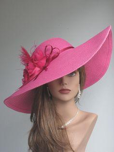 Pink Wedding Hat Head Piece Kentucky Derby Hat White Bridal Coctail Hat Couture Fascinator  Bridal Hat