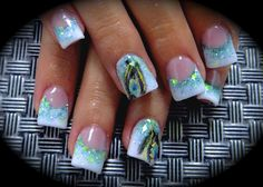 Peacock Feather Acrylic Nail Art o my I want this done to my nails