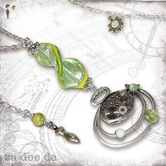 Ecosphere Time Lapse Steampunk Necklace - Za Dee Da - The Mad Scientist Collection - Lime Green Planetary Eco Time Necklace - Wedding nacklaces (*Amazon Partner-Link)