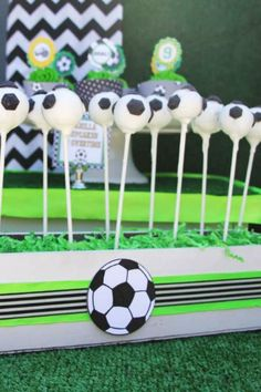 Party Ideas, Inspirations, and Themes Soccer Birthday Parties, Soccer Party, Soccer Cake Pops, Birthday Cake Pops, Wedding Cake Pops, Baby Shower Cake Pops, Amazing Cakes, Party Planning, Party Ideas