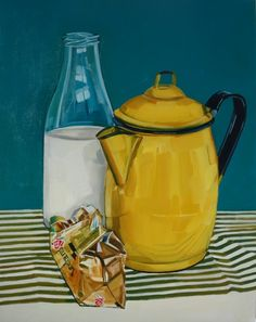 Taste of Kerry Oil on Panel Be Still, Still Life, Enamel, Oil, Yellow, Painting, Vintage, Isomalt, Polish