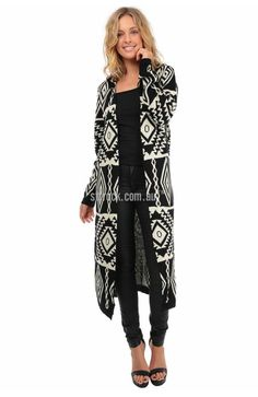 Pandora Wool Blend Hooded Maxi Cardi in Aztec $35  The Pandora Maxi Cardi is a hooded maxi cardi that assures maximum warmth this cold weather season! This cardigan will fit the wearer with a bit of room in both the body and the sleeves. It's not a stretchy knit but does have a bit of give that provides comfort. The monochrome aztec pattern is super easy to style, especially with casual outfits!
