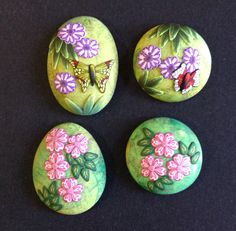 Polymer clay spring flowers and butterfly by Eriko page