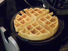 Martha Stewart's Buttermilk Waffles: perfectly crisp and light. Works well in regular waffle iron, doesn't have to be in Belgian iron. Note: regular milk with vinegar works great if you don't have buttermilk.