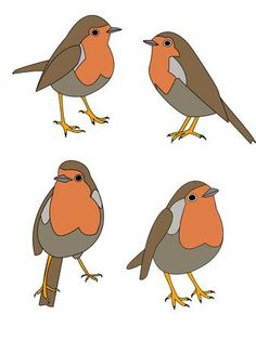 Illustration of vectors illustrations of a robin bird in various poses vector art, clipart and stock vectors. Christmas Applique, Christmas Embroidery, Christmas Art, Bird Patterns, Applique Patterns, Applique Designs, Applique Ideas, Free Motion Embroidery, Machine Embroidery Applique
