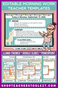 These llama-themed Editable PowerPoint and Google Slides Teacher Templates include space to type the day and date, reminders of what to do when entering the classroom, as well as 'must do' and 'may do' assignments. Remind your students of their morning assignments during arrival time by displaying them on your whiteboard or SMARTBoard. #teachertemplates #morningarrivalinstructions #editable #powerpoint #googleslides #funthemes #llamas