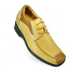 Look for best Yellow lace up get taller shoes 7cm/2.75inch height increasing elevator shoes with the SKU: MENJGL_1246 at Tooutshoes online store