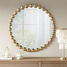 "Round Gold Baubles Iron Wall Mirror 27"" Small Wall Mirrors, Round Mirrors, Mirror Shapes, Mirrors Wayfair, Metal Mirror, Iron Decor, Iron Wall, Park, Modern Contemporary"