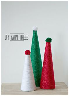 DIY Yarn Trees - These are great for the holidays!