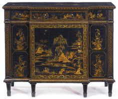 A George III black-lacquer-mounted breakfront side cabinet attributed to Thomas Chippendale circa 1770 | lot | Sotheby's