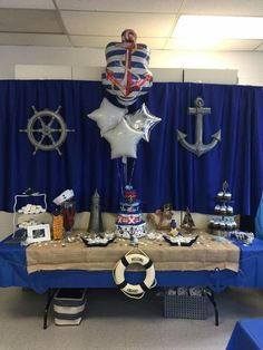 Baby Shower Decorations For Boys, Boy Baby Shower Themes, Baby Decor, Baby Boy Shower, Nautical Bridal Showers, Nautical Party, Nautical Backdrop, Anchor Birthday, Sailor Baby Showers