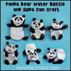 Panda Bear Craft Water Bottle and Soda Can Recycle Craft from www.daniellesplace.com