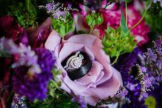 DeMuth-Eggleston Wedding Photo By Visions by Heather Wedding rings. Purple and green wedding. Neil Lane wedding ring.