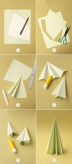 Árboles de Navidad con papel plegado - Guía de MANUALIDADES