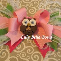"""Little Miss Fancy Owl Hair Bow with Polymer Clay Center and Feathers  Adorable bow is perfect to wear to one side or addy to pony tail, hat or headbands. Available on partially lined double prong alligator clip. Approximately 4"""" wide (excluding length of feathers). No slip grip can be added on ..."""