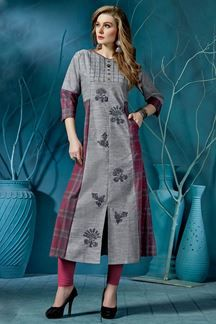 Picture of Relishing grey & pink designer kurti Churidar Designs, Kurti Neck Designs, Kurti Designs Party Wear, Blouse Designs, Long Kurti Patterns, Special Dresses, Indian Designer Outfits, Pakistani Outfits, Indian Wear