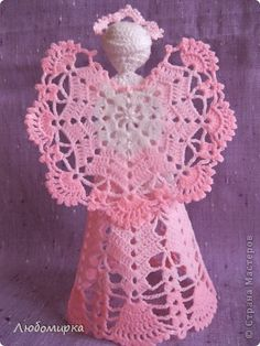 Поделка, изделие Вязание крючком: Розовый ангел Бисер, Нитки. Фото 2
