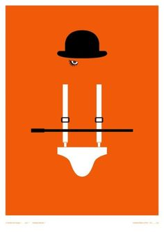 ground is the orange and the figure is the hat, eye, clothing, and stick