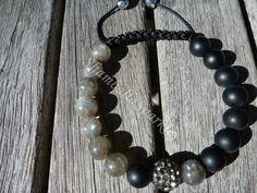 Yin Yang Labradorite and Matte Black Agate Shamballa Bracelet