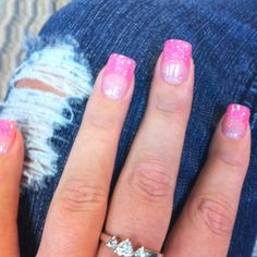Pink, glittery nails