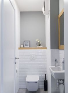 Space Saving Toilet Design for Small Bathroom - Home to Z toilettes Small Downstairs Toilet, Small Toilet Room, Guest Toilet, Downstairs Bathroom, Cloakroom Toilet Small, Small Toilet Decor, Bathroom Wall Decor, Bathroom Styling, Bathroom Interior